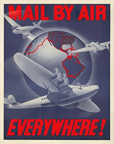 Mail By Air Vintage Poster (artist: Wittlig) USA c. 1939 (9x12 Art Print, Wall Decor Travel - Wpa 1939 Print