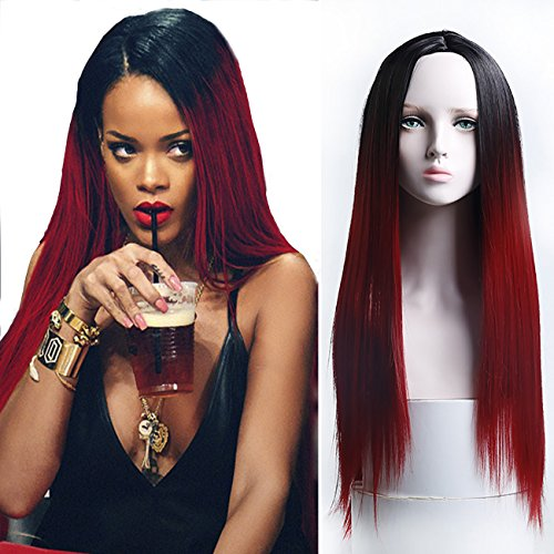 Price comparison product image MEIFAN WIG Long Straight Ombre Black Red Wigs for Black Women Synthetic Hair Anime Cosplay Costumes Cosplay Wig (red)