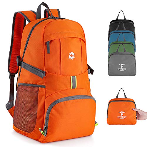 Lightweight Travel Backpack, 35L Water Resistant Packable Traveling/Hiking Backpack Daypack for Men & Women, Multipurpose Use, Orange]()