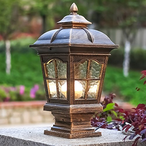 CGJDZMD Pillar Lamp European-Style Simplicity Waterproof Antirust Aluminum Column Lamp Outdoor LED Post Light Garage Pavilion Courtyard Courtyard Lighting (Color : Bronze)