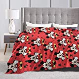 Mickey Mouse Flannel Throw Blanket Ultra Soft Plush Bed Blanket Cozy Lightweight Couch Blanket for Adults and Kids