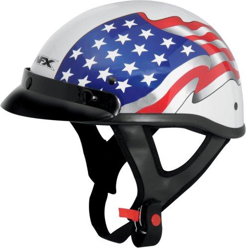 Afx Beanie Half Helmet - AFX FX-70 Unisex-Adult Half-Size-Helmet-Style Beanie Helmet (Flag White, Medium)
