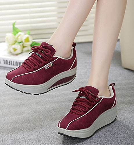 VECJUNIA Ladies Lace-up Platform Crochet Fitness Toning Shoes Work Out Height-increasing Athletics Roller Sneaker Red HGcmj