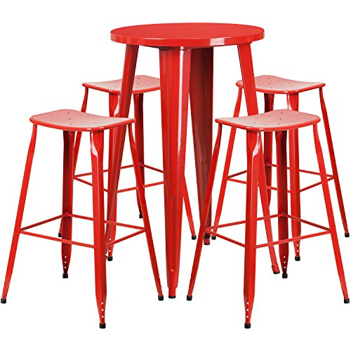 Flash Furniture 24'' Round Red Metal Indoor-Outdoor Bar Table Set with 4 Saddle Seat Stools