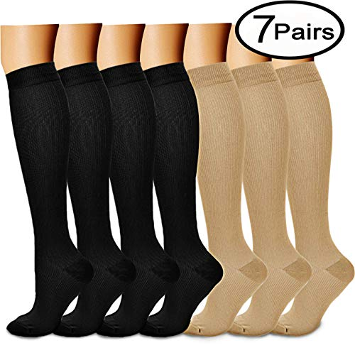 CHARMKING Compression Socks 15-20 mmHg is BEST Graduated Athletic & Medical for Men & Women Running, Travel, Nurses, Pregnant - Boost Performance, Blood Circulation & Recovery(Small/Medium,Black Nude)