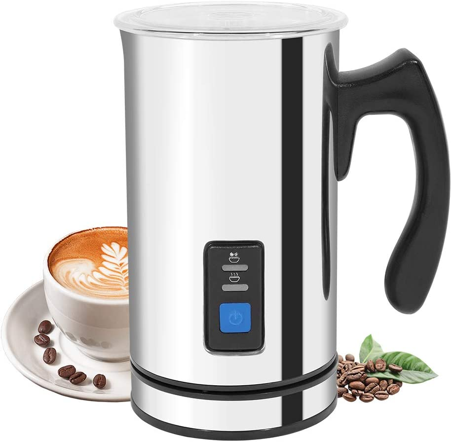 Bigzzia Milk Frother, Electric Stainless Steel Hot and Cold Milk Steamer Automatic FoamMaker for Coffee, Hot Chocolate, Cappuccino