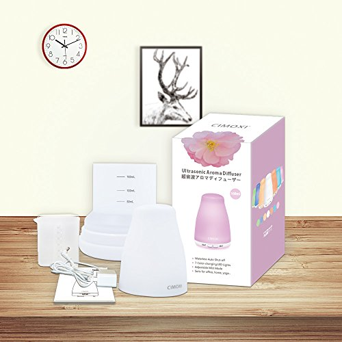 CIMOXI 160ml Mini Essential Oil Diffuser, Ultrasonic Aromatherapy Diffuser Cool Mist Humidifier 7 Color-changing LED Lights Auto Shut-off Adjustable Mist Modes for Home Office Spa Yoga and Baby Room by CIMOXI (Image #6)