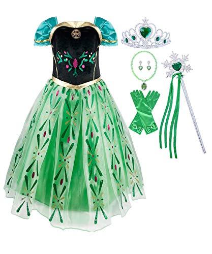 Anna Frozen Costume - LENSEN Tech Girls Princess Anna Costume