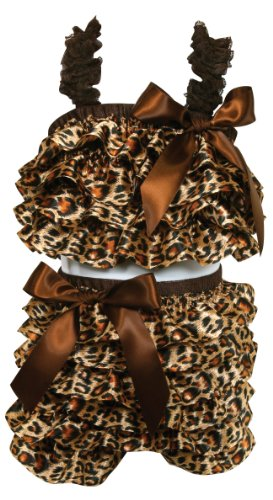 [Stephan Baby Ruffled Flapper Top and Diaper Cover, Cheetah Print, 18-24 Months] (Animal Outfits For Toddlers)