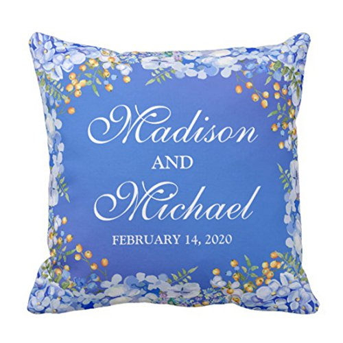 Vintage Throw Pillow Covers 18x18 : Emvency Emvency Throw Pillow Cover Floral Watercolor Wedding Chic Blue Decorative Pillow Case ...