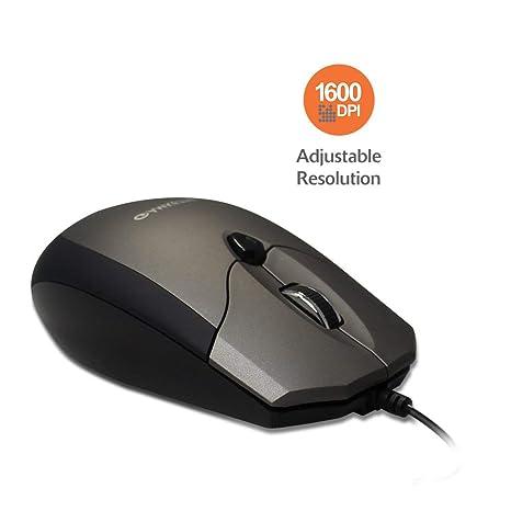 Renewed  Amkette Weego Pro Optical Mouse Ergonomic Design Adjustable 1600 DPI Resolution  Grey Black  Mice