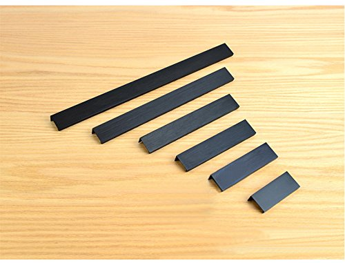 KFZ Cabinet Handles, Drawer Pull Door Knobs,DJH8850 Aluminum Furniture Gate Hardware,Matte Black Brush Finish (5, 6.3'' Hole Center - 7.87'' Length)