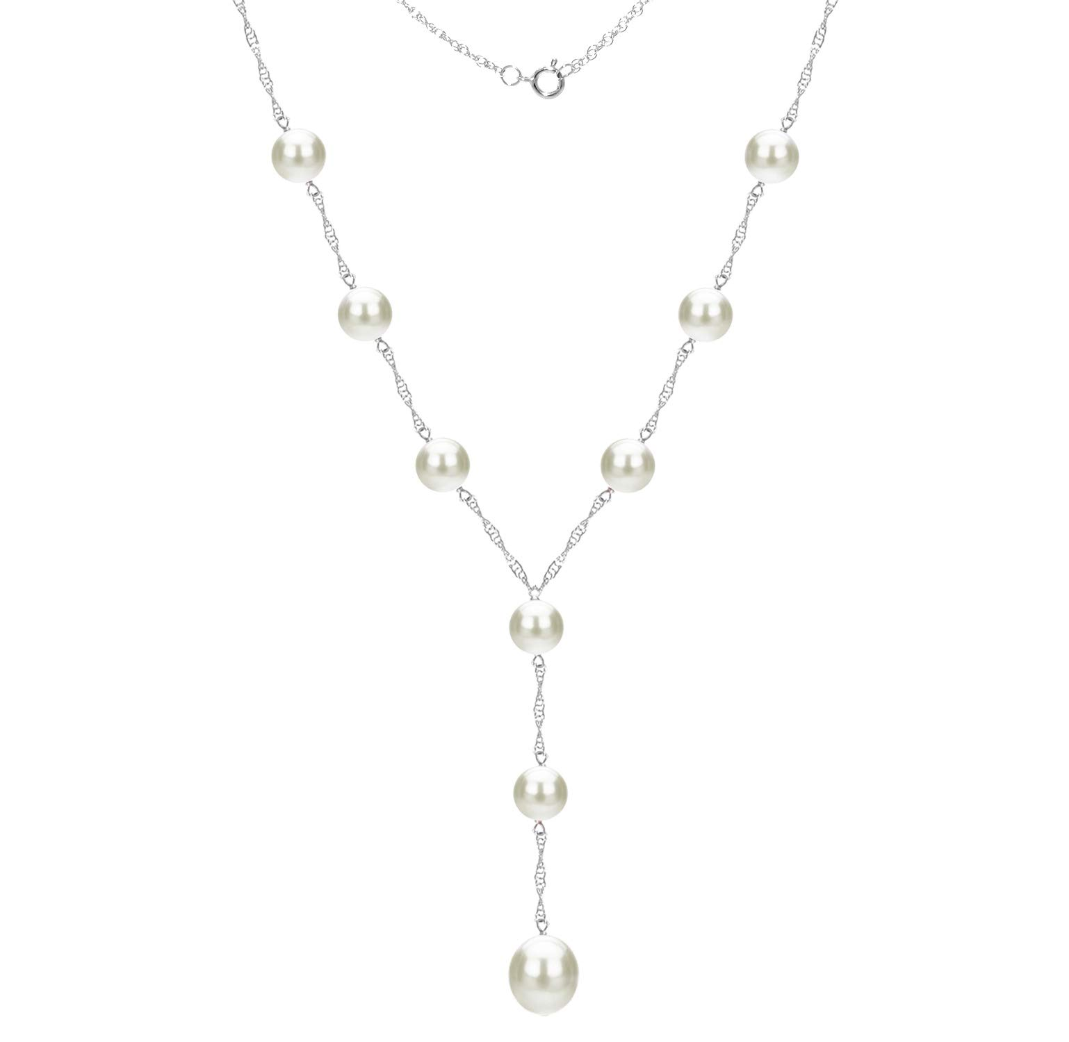 14k White Gold 8-8.5mm and 9-9.5mm White Freshwater Cultured Pearl Station Necklace, 18'' + 2'' Drop
