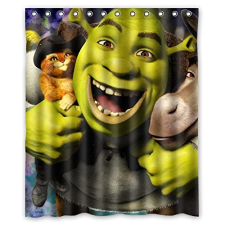 Lovely Shrek Custom Shower Curtain 60x72 Inch Super Light Amazoncouk Kitchen Home