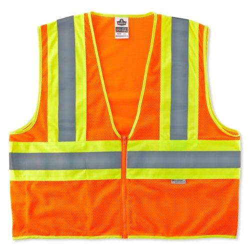 Ergodyne GloWear 8230Z ANSI Two-Tone High Visibility Orange Reflective Safety Vest, Small/Medium