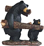 StealStreet SS-G-54357 Father And Son Black Bear Gathering Wood Statue, 8""