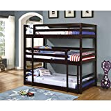 Coaster 400302, Triple Twin Bunk Bed with Multiple Configurations, Built-In Ladder and Solid Pine Wood Construction in Cappuccino Finish