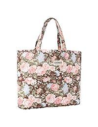Lvtree Tote Shoulder Bag Handbag, Foldable Wallets Purse Bag for Outdoors Gym Hiking Picnic Travel Beach, Gray Rose