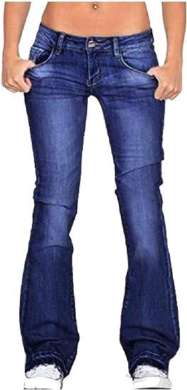 EnergyWD Women Low Waist Flare Long Pants Washed Body Enhancing Denim Jeans