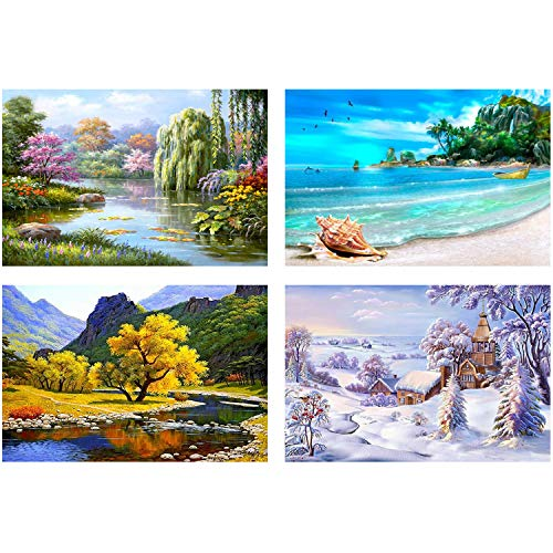 Four Seasons Paintings - 4 Pack 5D DIY Diamond Painting Full Drill Rhinestone Embroidery Paintings Four Seasons Pictures for Living Home Decoration (26x26cm/10x10inch)