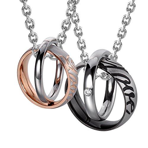 """Belle his & hers couples """"Love"""" Anneaux collier pendentif 48 & chaînes de 53 cm"""