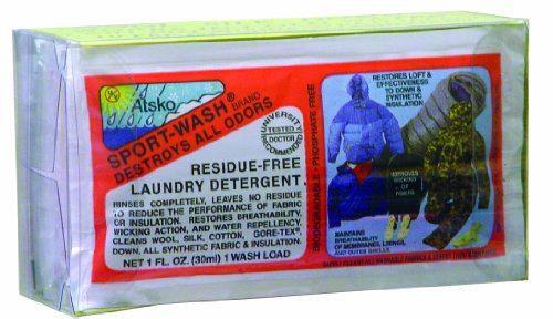 Atsko Sno-Seal Sport-Wash Laundry Detergent (1-Fluid Ounce Pillow-Pack, 10 per Clear Box)