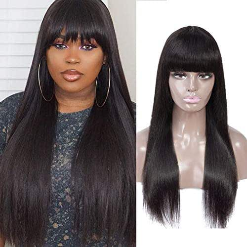 Healthair None Lace Front Wigs with Bangs Straight Virgin Human Hair Wigs None Lace Front Wigs for Black Women New Style Wigs (20