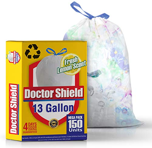 - 13 Gallon Trash Bag Garbage Bag Kitchen Trash Can Liners for Dumpster Bin 150 Count - Strong White Drawstring Odor Shield Bags for Refuse Disposal