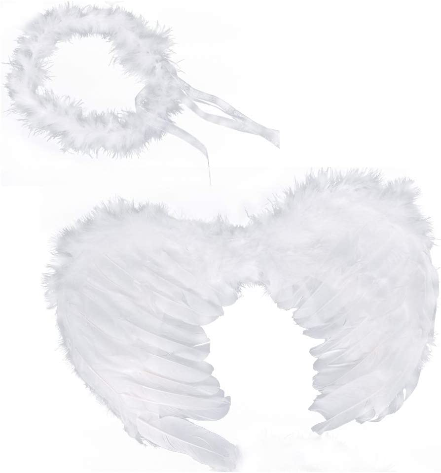 """Huge 36/"""" Large White Feather Wings Angel Halo Halloween Costume SHIPS FAST!"""