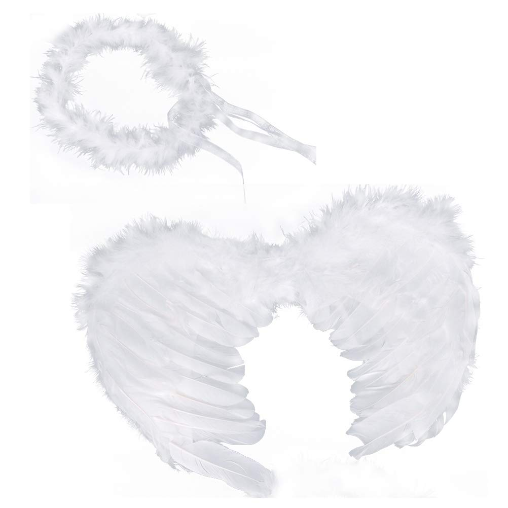 RUIZSH Angel Feather Wings and Halo Headband for Cosplay, Party Costumes, White by RUIZSH