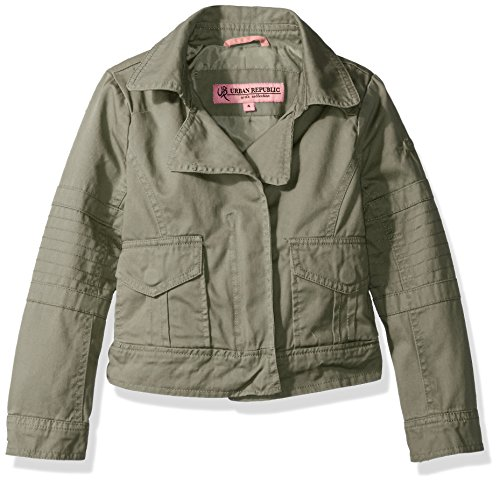 - Urban Republic Little Girls' Cotton Twill Moto Jacket, Dusty Olive, 5/6