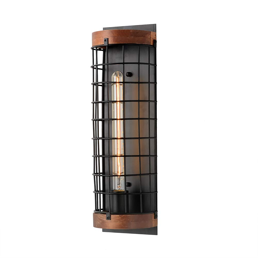 Anmytek Rustic Semicircle Wall Lamp Metal Wood Wall Light Sconce Retro Vintage Industrial Cage Wall Lamp Sconce Fixture for Kitchen Living Bathroom Room 1-Light (W0047)