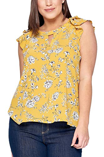(Women's Junior Plus Floral Cut-Out Top with Layered Flutter Sleeves Mustard 1X )