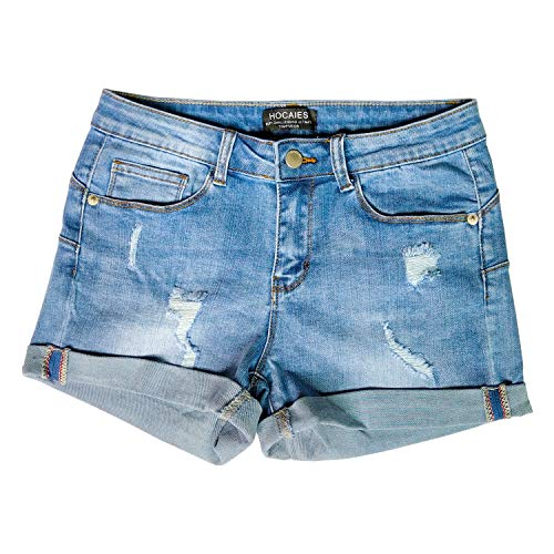 (HOCAIES Women's Juniors Mid Rise Jean Shorts Folded Hem Denim Shorts Jeans (US-8, 02 Light Denim))