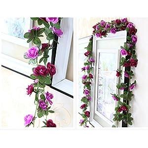 Meiliy 2 Pack 8.2 FT Fake Rose Vine Flowers Plants Artificial Flower Home Hotel Office Wedding Party Garden Craft Art Decor 3