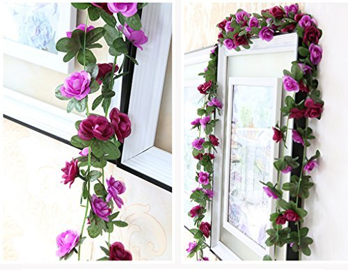 Meiliy 2 Pack 8.2 FT Fake Rose Vine Flowers Plants Artificia