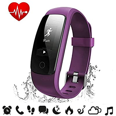 Fitness Tracker Heart Rate - COOLEAD IP67 Pedometer Step Counter Sleep Monitor Music Control Activity Tracker,IP67 Waterproof Smart Bluetooth Bracelet Wristband for Android/IOS Phone