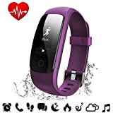 Fitness Tracker Heart Rate - COOLEAD ID107Plus HR Music Control Remote Shoot Activity Tracker,GPS Pedometer Sleep Monitor,Waterproof Bluetooth Smart Bracelet Wristband for Android / IOS Phone(Purple)