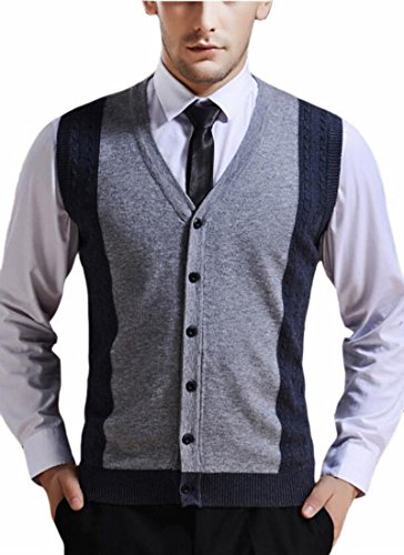 discount HTOOHTOOH Men's Business Button Up V Neck Assorted Color Knitwear Sweater Vest on sale