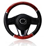 Black and Wood Steering Wheel Cover - Zone Tech Premium Quality Classic Black with Wood Grain Style Cover Perfect for all Standard Size Auto Steering Wheel