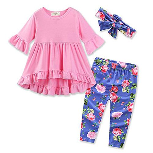 3Pcs Suit Set Long Sleeve Top+ Flower Printed Pants+Headband Outfit Clothes Set (0-6 Month, Pink)