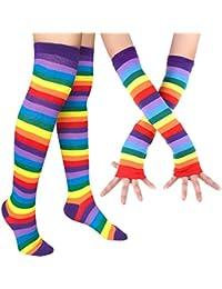 Womens Rainbow Stripe Knee Thigh High Socks Arm Warmer Fingerless Gloves