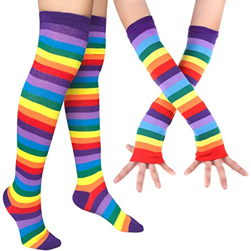Chalier Womens Rainbow Stripe Knee Thigh High Socks Arm Warmer Fingerless Gloves (Socks Knee Striped Rainbow)