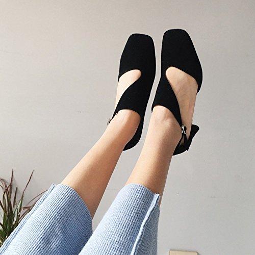 de altos solteros Black zapatos Tacones Zapatos tacones ásperos Jqdyl pasarela mujer tacones de 8vpwI