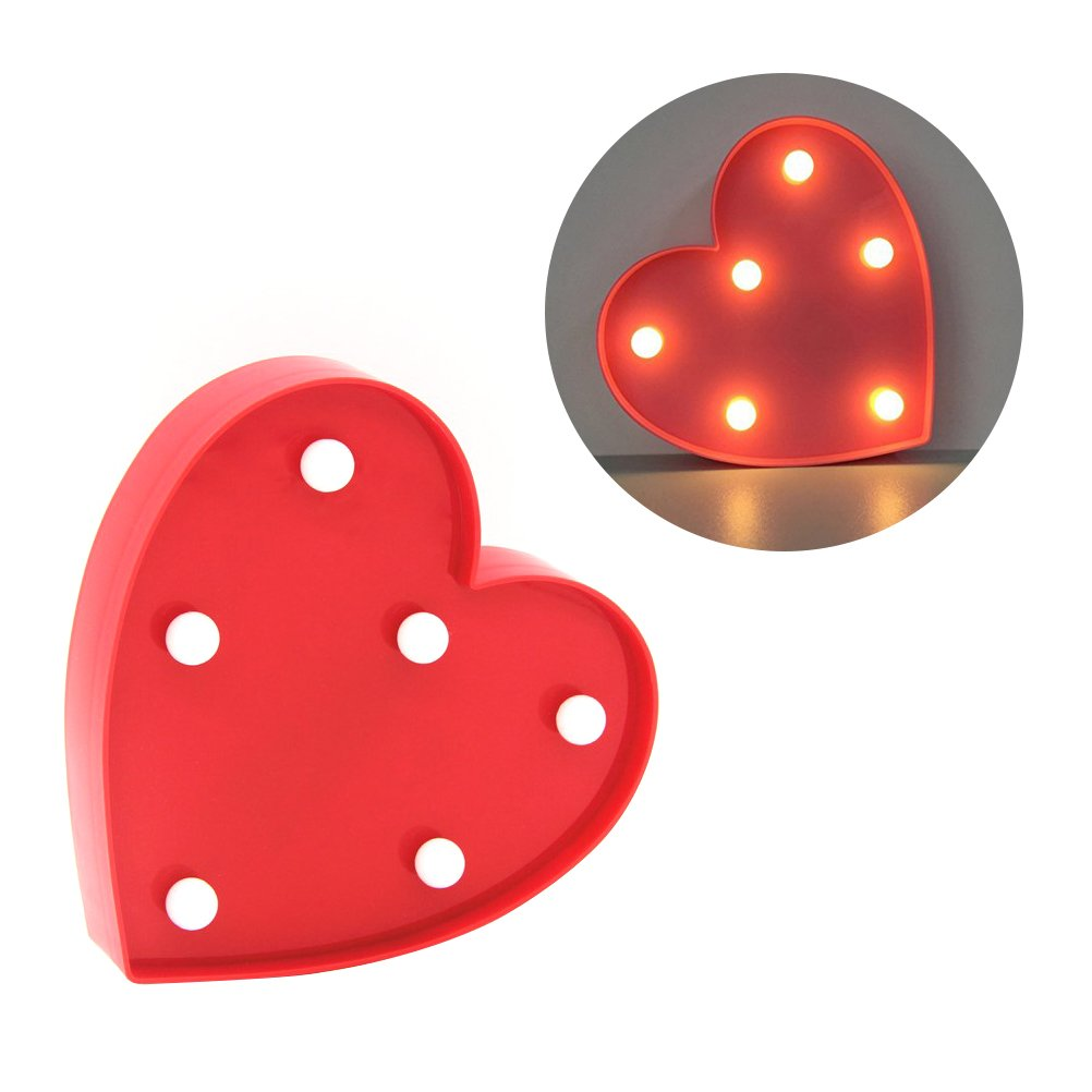 LEDMOMO 6 LED Hanging Table Decor Love Heart Sign Shaped Light for Christmas Home Wedding Party Decoration (Red)