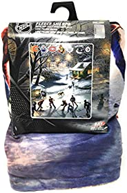 NHL Blanket Fleece Sherpa Throw Featuring The Warming House by Canadian Artist James Meger