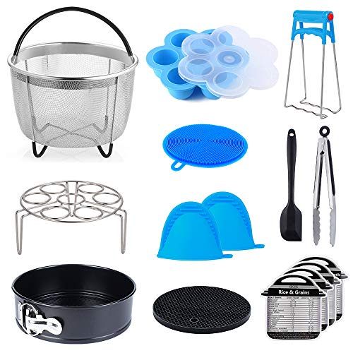 15 pcs Accessories Compatible with Instant Pot Pressure Cooker 6, 8Qt - Steamer Basket, Egg Rack, Springform Pan,Egg Bites Mold,Magnetic Cheat Sheets,Oven Mitts,Tongs,Spatula & Scrubber & Trivet Mat by Secite (Image #7)