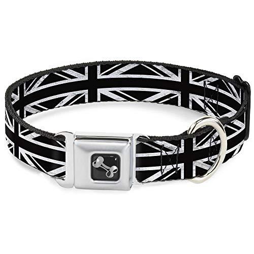 Buckle-Down Seatbelt Buckle Dog Collar - Union Jack Distressed Black/White - 1.5