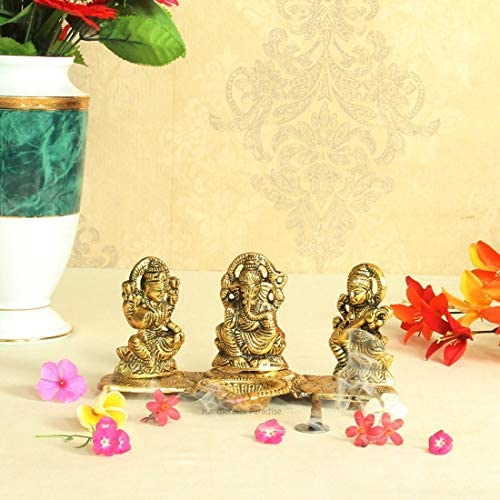 Handicrafts Paradise Lakshmi Ganesh Saraswati Gold Plated with Diya
