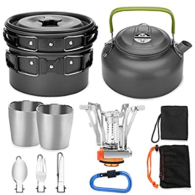 Odoland Camping Cookware Mess Kit with Mini Stove, Lightweight Pot Pan Kettle with 2 Cups, Fork Knife Spoon Kit for Backpacking, Outdoor Camping Hiking and Picnic